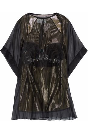 MAISON MARGIELA Layered crystal-embellished silk-organza and lamé top