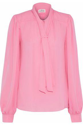 MAISON MARGIELA Tie-front silk crepe de chine blouse