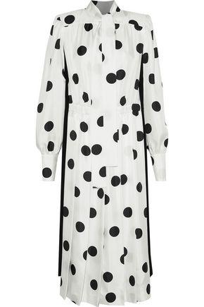 MAISON MARGIELA Pussy-bow polka-dot silk-satin twill midi dress