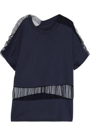 MAISON MARGIELA Oversized ruched tulle-paneled cotton-jersey T-shirt