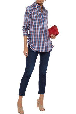 PETERSYN Gretchen ruffle-trimmed checked cotton-poplin shirt