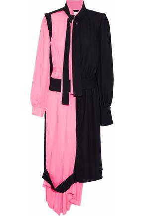 MAISON MARGIELA Two-tone silk-paneled crepe shirt dress