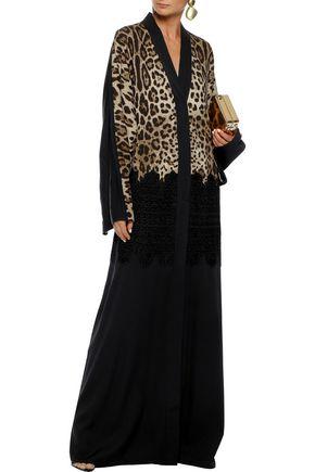 DOLCE & GABBANA Broderie anglaise-appliquéd leopard-print silk-blend gown