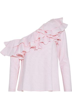 PETERSYN Dahlia one-shoulder ruffled striped cotton top