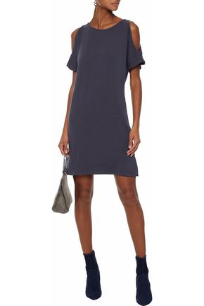 MONROW Cold-shoulder terry dress