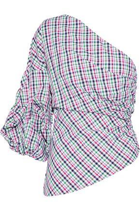 PETERSYN Tilly one-shoulder striped cotton-poplin top