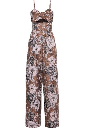 PETERSYN Ethan cutout bow-embellished jacquard jumpsuit