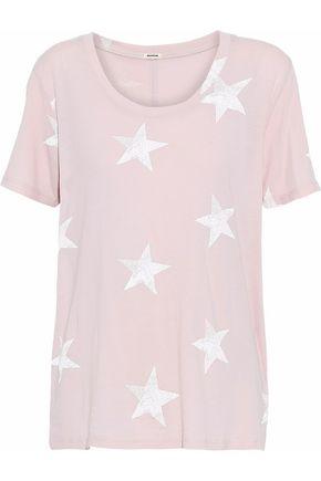 MONROW Printed modal and Supima cotton-blend jersey T-shirt