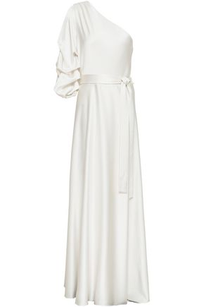 ALICE + OLIVIA One-shoulder draped satin-crepe gown
