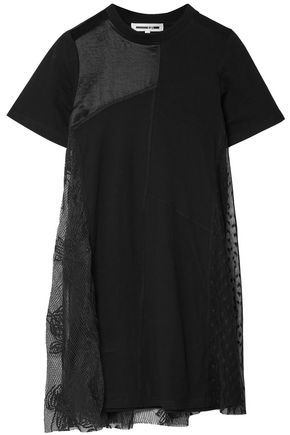 McQ Alexander McQueen Layered patchwork satin, stretch-jersey and lace mini dress