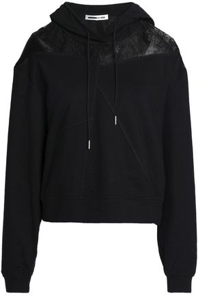 McQ Alexander McQueen Point d'esprit and satin-paneled French terry hooded sweatshirt