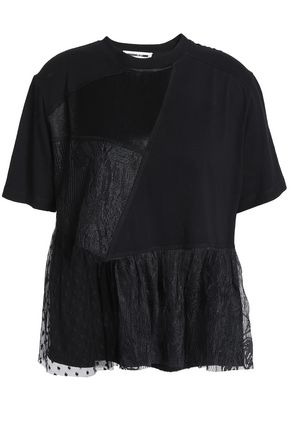 McQ Alexander McQueen Paneled lace, satin and jersey T-shirt