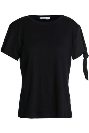 J.W.ANDERSON Knotted silk-trimmed ribbed cotton T-shirt