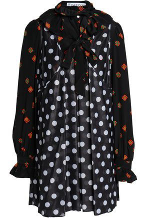 J.W.ANDERSON Pussy-bow polka-dot crepe de chine mini dress