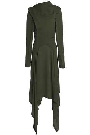 J.W.ANDERSON Asymmetric draped silk-georgette midi dress