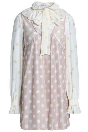 J.W.ANDERSON Pussy-bow polka-dot crepe de chine mini dress