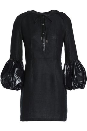 J.W.ANDERSON Leather-trimmed linen mini dress
