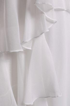 ALICE + OLIVIA Cold-shoulder tiered silk-georgette top