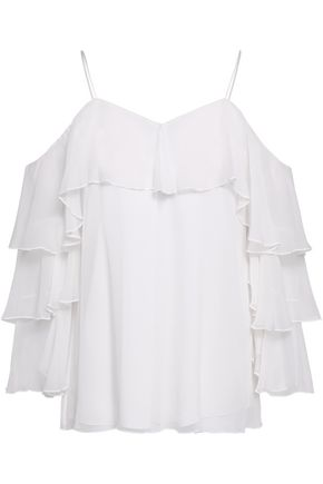 ALICE + OLIVIA JEANS Cold-shoulder tiered silk-georgette top