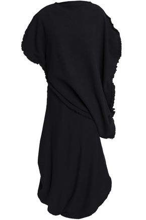 J.W.ANDERSON Frayed layered French cotton-blend terry midi dress