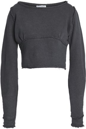 J.W.ANDERSON Cropped French cotton-blend terry sweatshirt