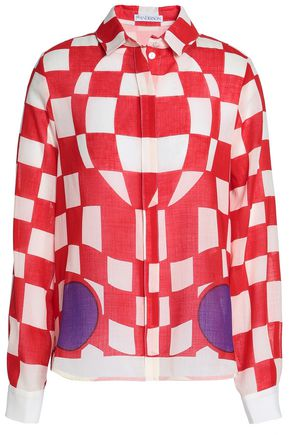 J.W.ANDERSON Checked wool-blend gauze shirt
