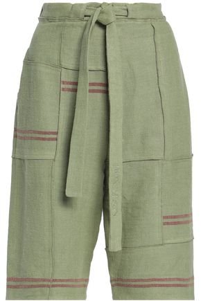 J.W.ANDERSON Tie-front patchwork linen shorts