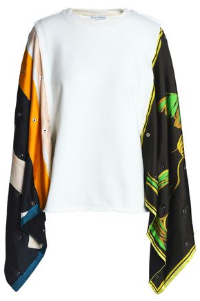 J.W.ANDERSON Printed crepe de chine and French cotton-blend terry top