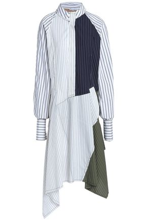 J.W.ANDERSON Paneled pinstriped cotton-poplin dress