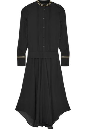 BELSTAFF Mareena metallic-trimmed silk crepe de chine midi dress