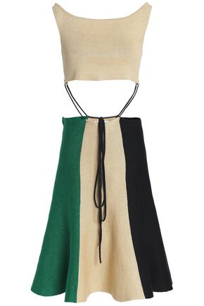 J.W.ANDERSON Tie-front cutout color-block linen-blend dress