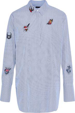 BELSTAFF Shauna appliquéd striped cotton-poplin shirt