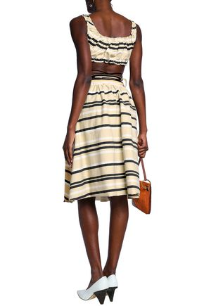 J.W.ANDERSON Ruffle-trimmed striped French cotton-terry dress