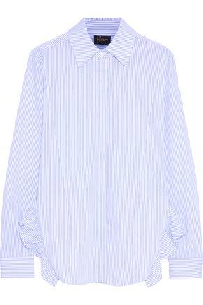 PETERSYN Gretchen asymmetric ruffle-trimmed checked cotton-poplin shirt