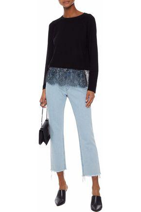 MONROW Lace-paneled terry sweatshirt