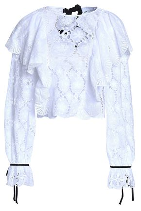 PERSEVERANCE Ruffled broderie anglaise cotton top