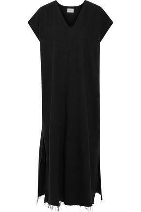 SIMON MILLER Ceil frayed cotton-jersey midi dress