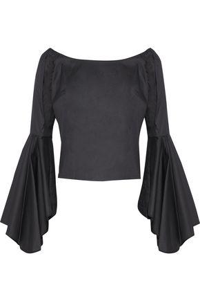 PETERSYN Harlan off-the-shoulder fluted cotton-poplin blouse