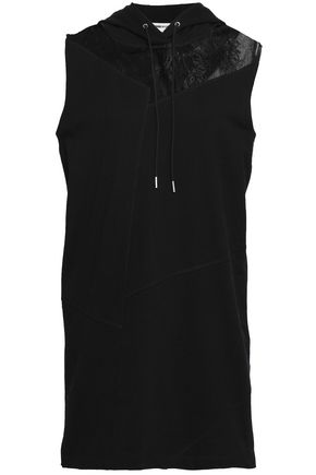 McQ Alexander McQueen Tulle-paneled French cotton-terry hooded mini dress