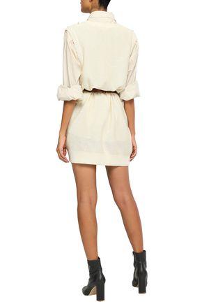 SONIA RYKIEL Faux pearl-embellished silk and cotton-blend mini dress