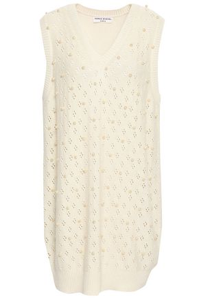 SONIA RYKIEL Faux pearl-embellished silk and cotton-blend mini dress