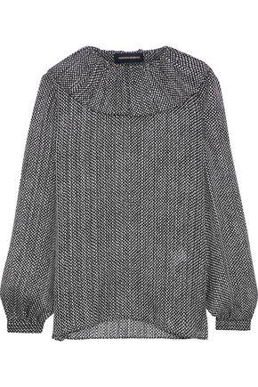 VANESSA SEWARD Florence ruffled printed burnout silk blouse