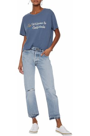 MONROW Cropped printed modal and Supima-blend jersey T-shirt
