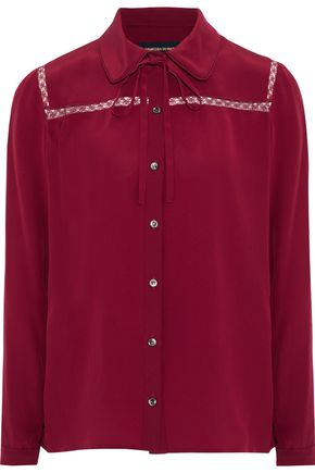 VANESSA SEWARD Fantaisie pussy-bow silk crepe de chine shirt