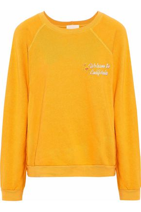MONROW California printed French cotton-blend terry sweatshirt