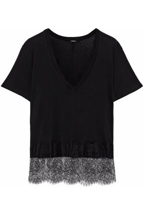 MONROW Chantilly lace-trimmed modal and Supima cotton-blend T-shirt