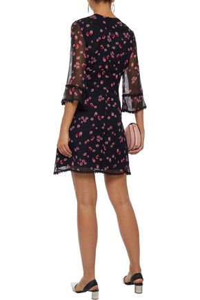 ANNA SUI Bow-embellished floral-print silk-georgette mini dress