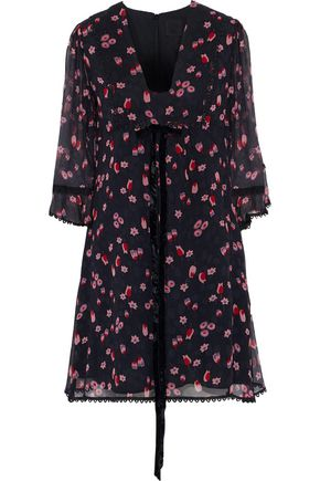 ANNA SUI Bow-embellished floral-print silk-georgette mini dress