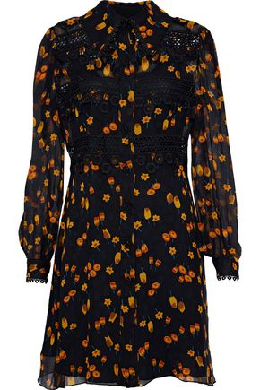 ANNA SUI Guipure lace-trimmed floral-print georgette mini dress