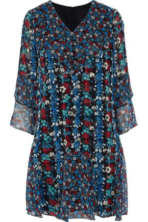 ANNA SUI Ruffled floral-print silk-blend georgette mini dress